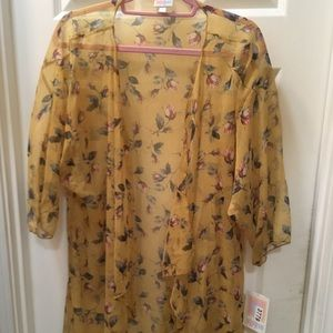 Lularoe Shirley Medium mustard floral